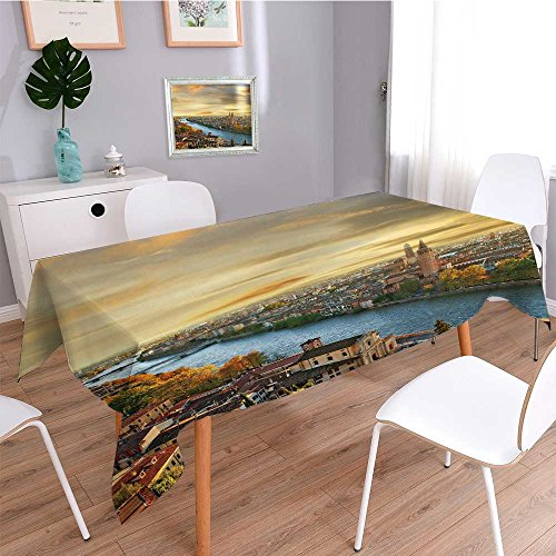 (Shabby Chic Tablecloth,beautiful romantic verona on sunset italy,Dining Room Kitchen Rectangular Table Cover)