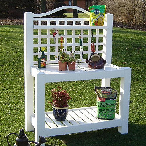 Best Popular Fade Resistant UV Treated Vinyl Garden Potting Work Bench Trellis- Awesome For Display Growing More- Lower Storage Shelf- Lightweight Portable Durable- Dress Up Your Deck Garden Patio Now by Dura-Select