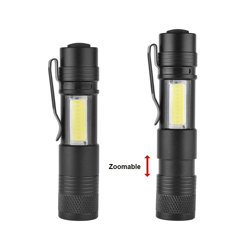 MODOAO COB LED Flashlights, Super Bright 200 Lumens Zoomable Work Light,Waterproof Pocket Lights with Cilp-6 Pack by MODOAO (Image #5)