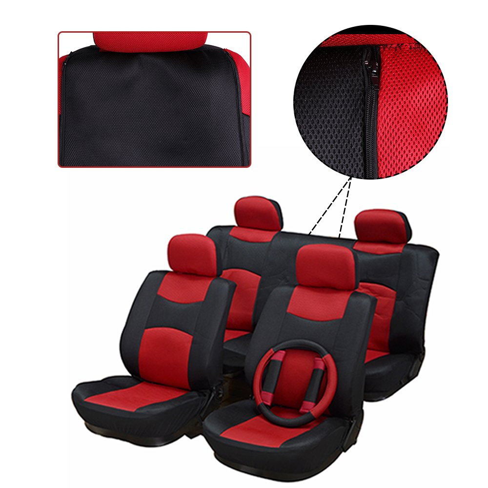 ECCPP Universal Car Seat Cover w/Headrest/Steering Wheel/Shoulder Pads - 100% Breathable Mesh Cloth Stretchy Durable for Most Cars Trucks Vans(Red/Black) by ECCPP (Image #3)