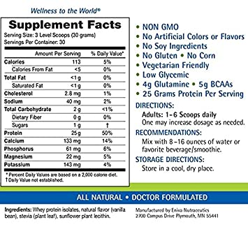 Natural Whey Protein Isolate Soy-Free, Antibiotic-Free, Grass-Fed, Hormone-Free, Gluten-Free, 99 Lactose-Free Dr. Formulated 30 Servings