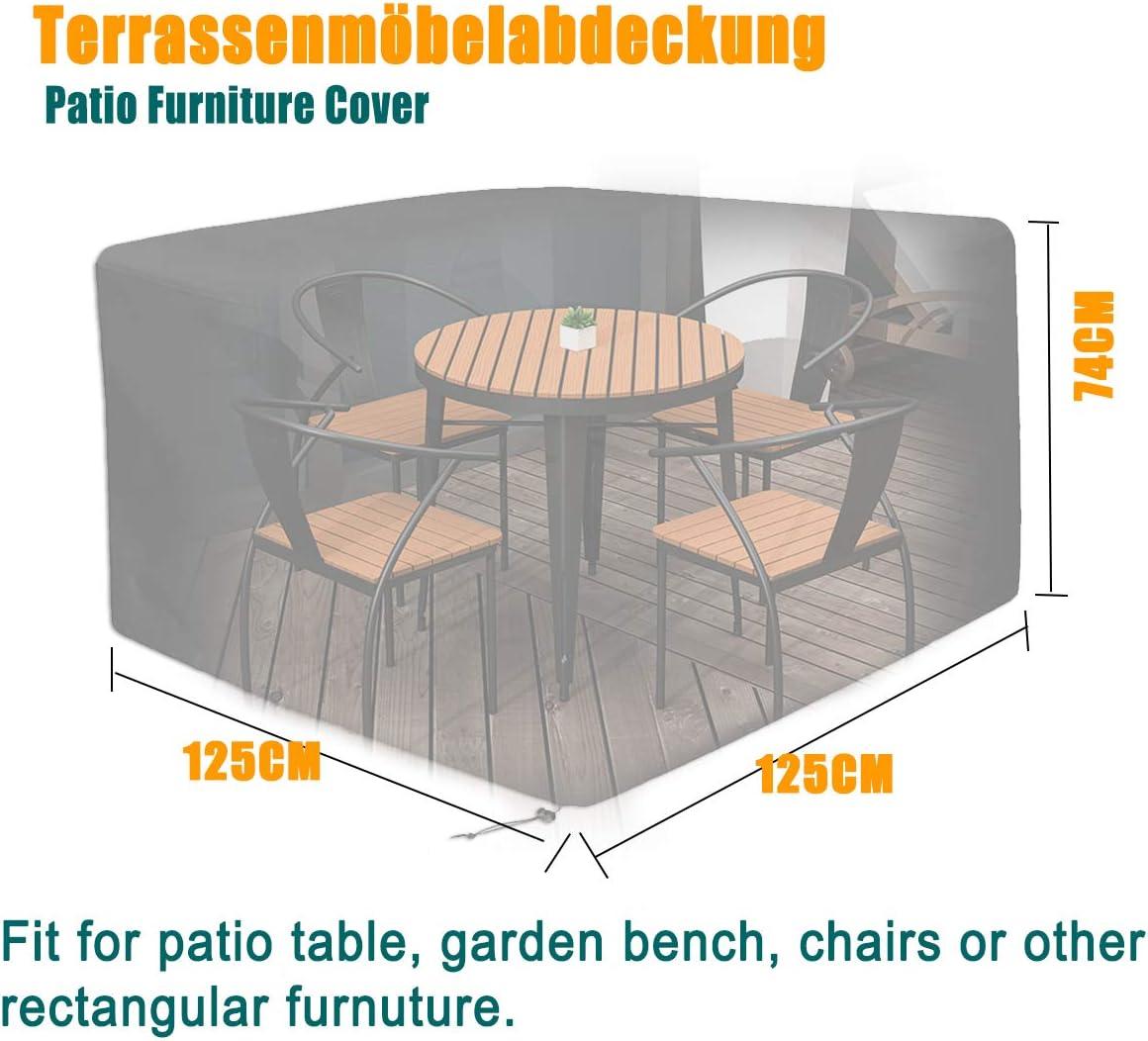 sedute rettangolari - Pratica copertura per i mobili da giardino 125x125x75cm tavoli da giardino e set di mobili Telone eeQiu per mobili da giardino impermeabile 600D Oxford