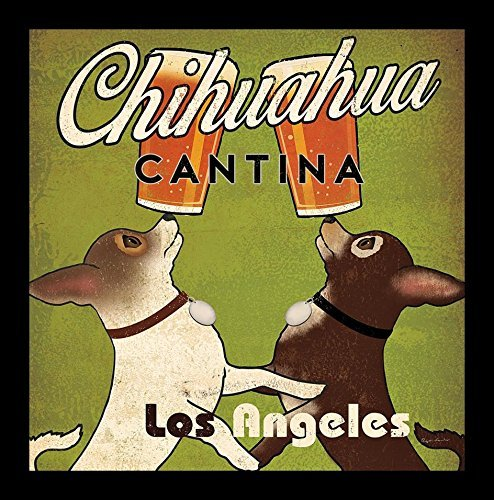 Brew Beer Art Print - Buyartforless Framed Double Chihuahua Cantina Brew Los Angeles by Ryan Fowler 12x12 Beer Signs Dogs Animals Art Print Poster Vintage