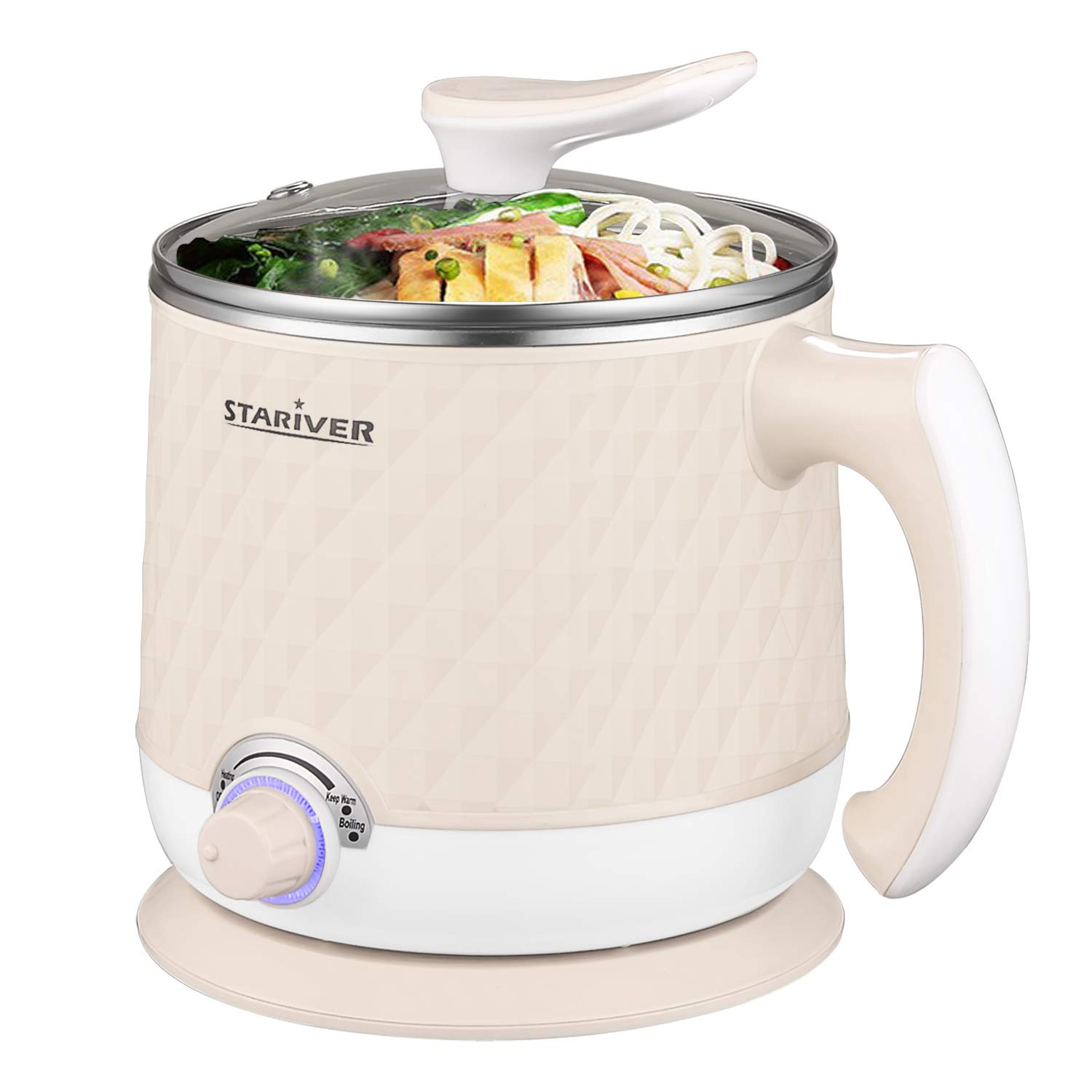 Stariver Electric Hot Pot, Electric Cooker, 1.8L Multi-Functional Mini Pot for Noodles, Soup, Porridge, Dumplings, Eggs, Pasta with Keep Warm Function, Over Heating and Boil Dry Protection, Beige