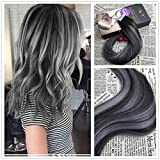 Moresoo 18 inch Remy Tape in Hair Extensions Two Tone Hair Extensions Natural Black #1B to Gray Silver Balayage Hair Extensions Human Hair 20pcs/50g