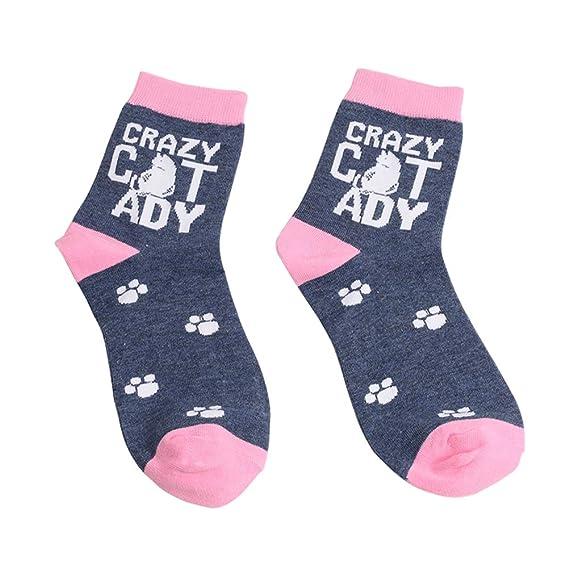 FENICAL 1 par de dibujos animados gato calcetines hombres y mujeres ocasionales carta inglesa calcetines de
