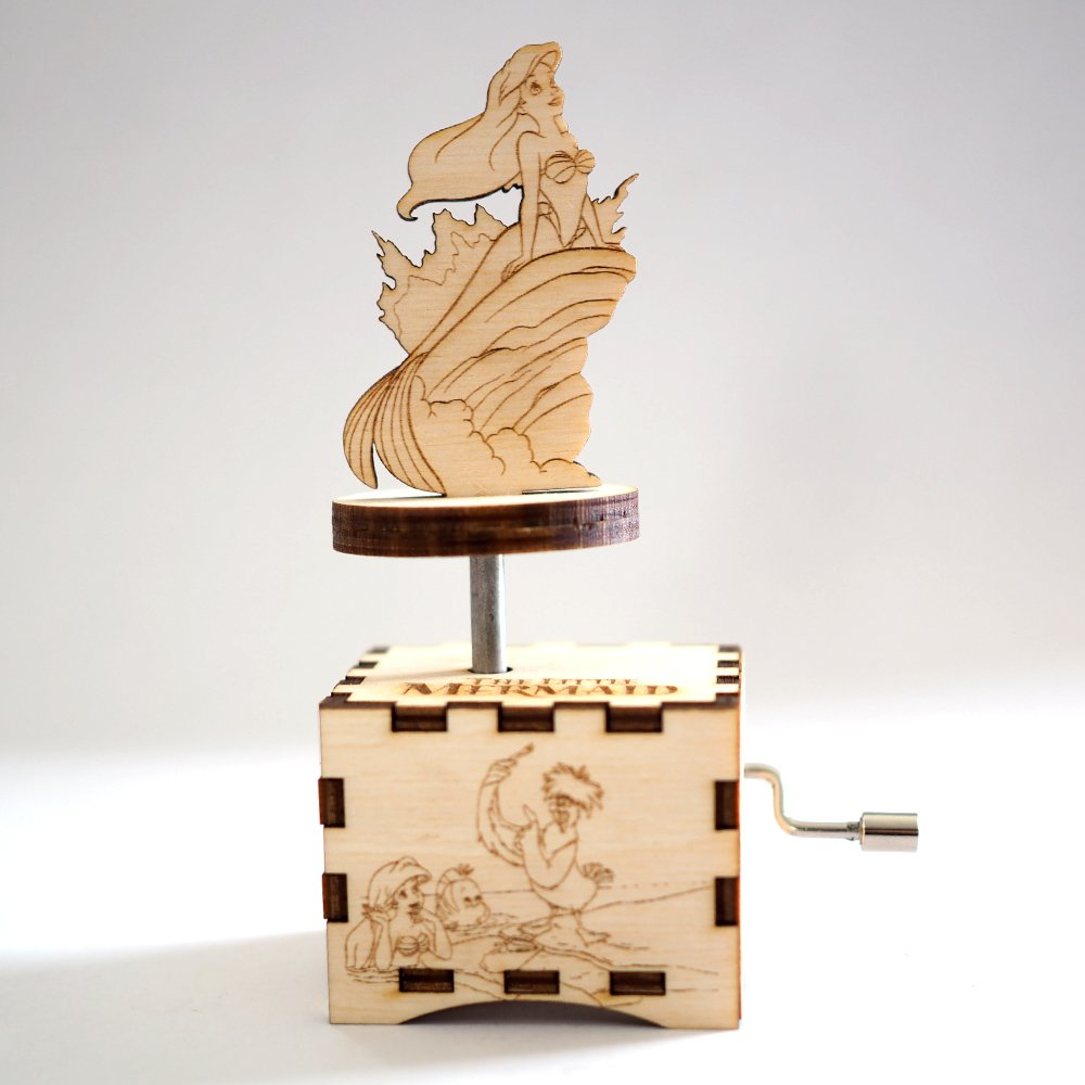 Little Mermaid Music Box - Under the Sea - Laser cut and laser engraved wood music box. Perfect gift, memorabilia or collectible