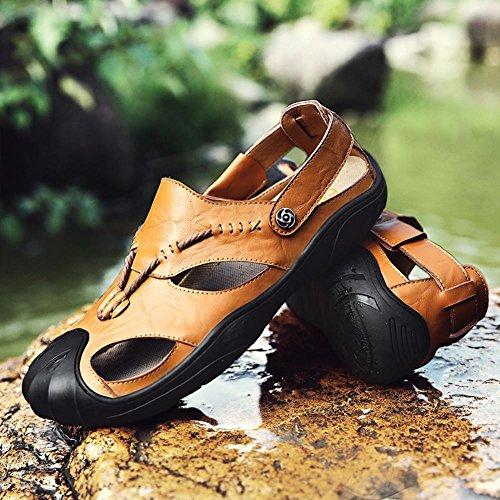 de Mocasines Mr al Libre Sandalias Verano para Sober con de Deportivas vadear para Punta Cuero Antideslizantes Hombres Aire Khaki Zapatos Cerrada 5w48Bwq