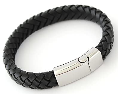 883f78a238d18 Bluerock Bay MILAN PERSONALISED BLACK LEATHER MENS BRACELET, FREE ENGRAVING  - with NAMES, BIRTHDAY etc - GIFT BOXED