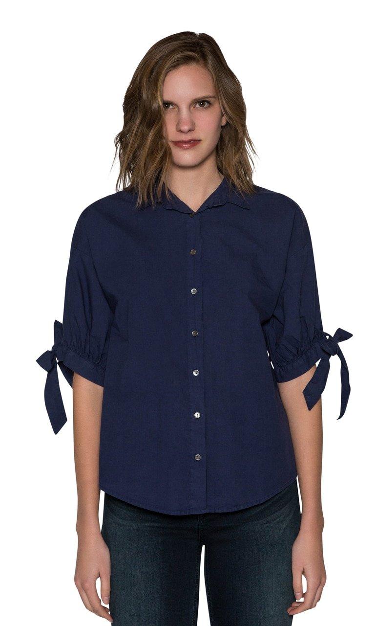 Velvet by Graham & Spencer Meryl Cotton Poplin Tie Sleeve Button Up Top (Naval, S)