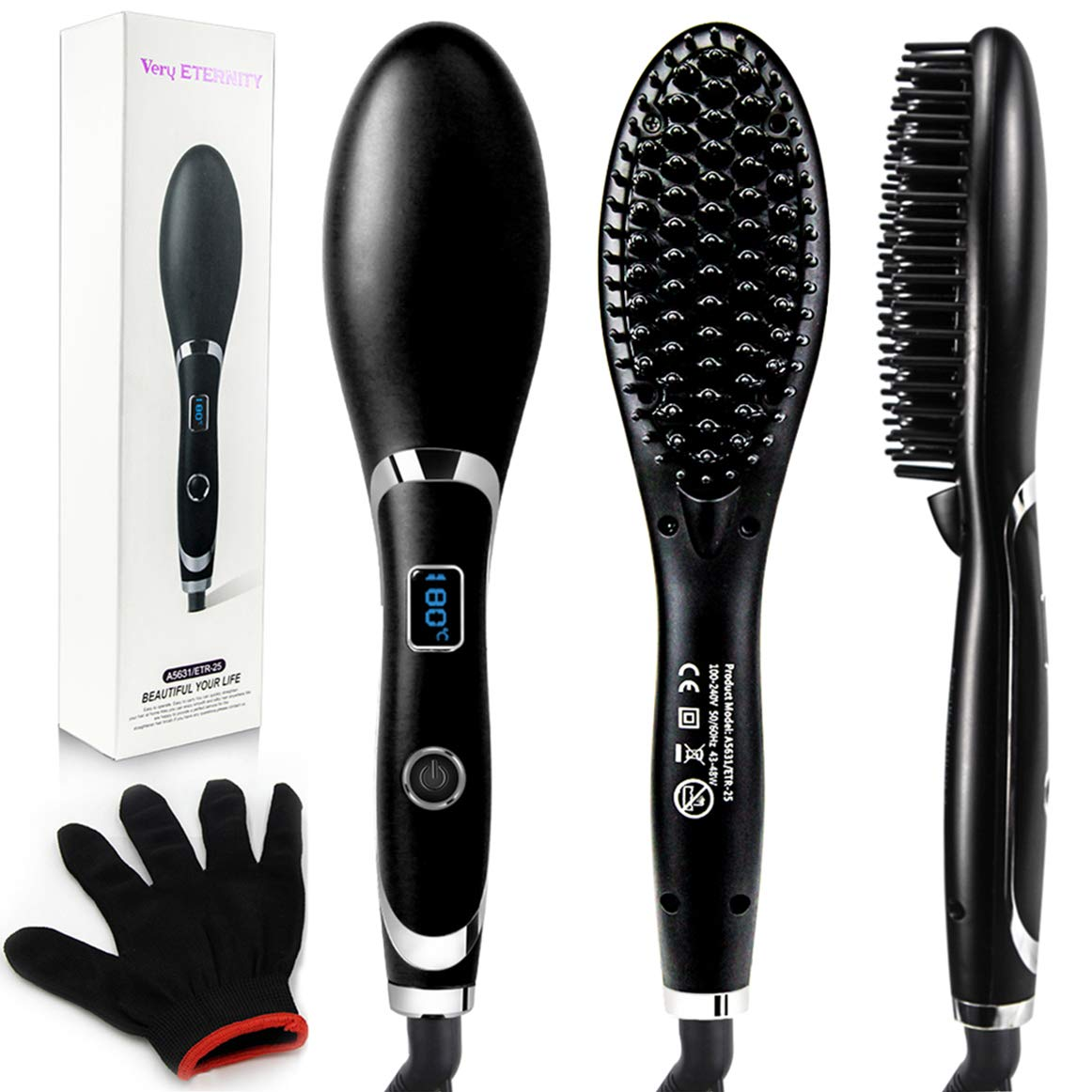 Hair Straightener Brush for Women by Veru ETERNITY, Fast Ionic Straightening Brush with Auto Temperature Lock & Auto-Off Function, Five-speed Adjustment Heating Temperature, Black by Veru ETERNITY