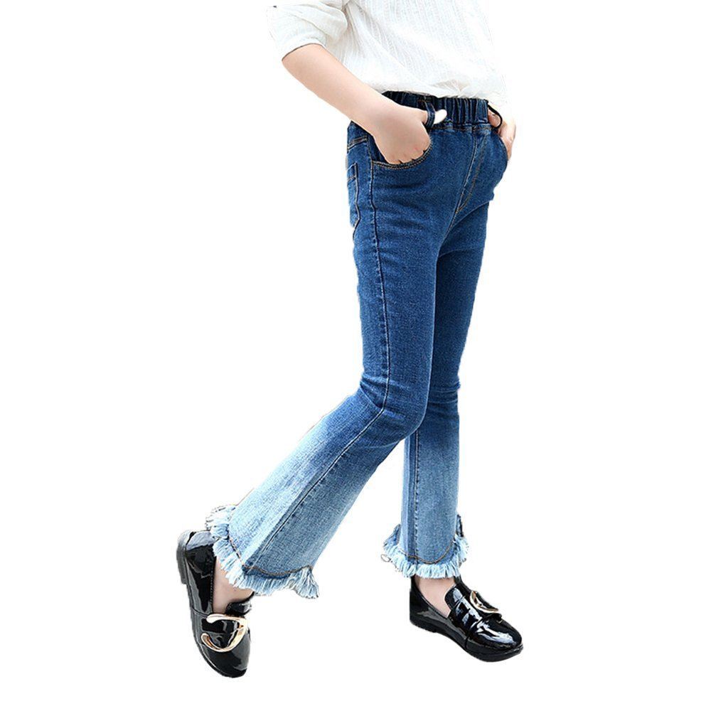 Abalacoco Girls Kids Jeans Cotton Pull-On Shading Denim Legging Stretch Waist Skinny Pants Flared Trousers (8-9 Years)