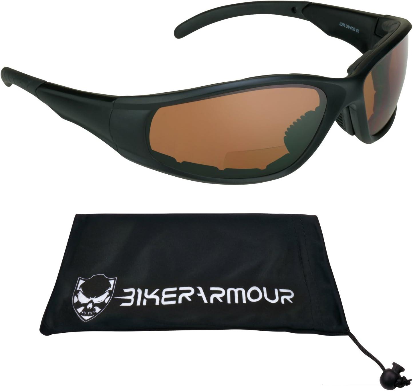ANSI Z87.1 Safety Lens /& Microfiber Cleaning Case. Bikershades Blue Blocking HD Vision Motorcycle Bifocal Sunglasses Padded 2.00 for Men /& Women