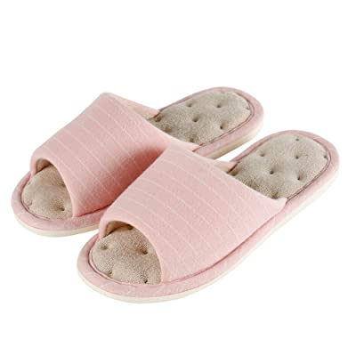 Women's Memory Foam Open Toe Slide Slippers - Ladies Soft Slip-on House Shoes Spa Sandals with Indoor Outdoor Anti-Skid Rubber Sole | Slippers