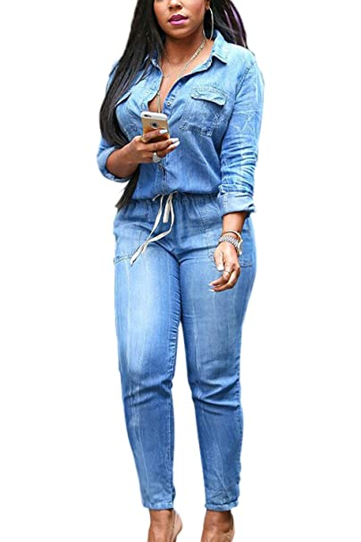 e314cbafbe Amazon.com  Zamtapary Women Jumpsuits Casual Long Sleeve Button Down Denim  Jeans Overalls Rompers  Clothing