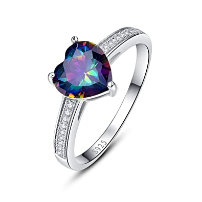 925 Sterling Silver Cubic Zircon Amethyst White Cubic Zirconia CZ Ring Cttw 4.6 Fashion Rings Fashion Jewelry