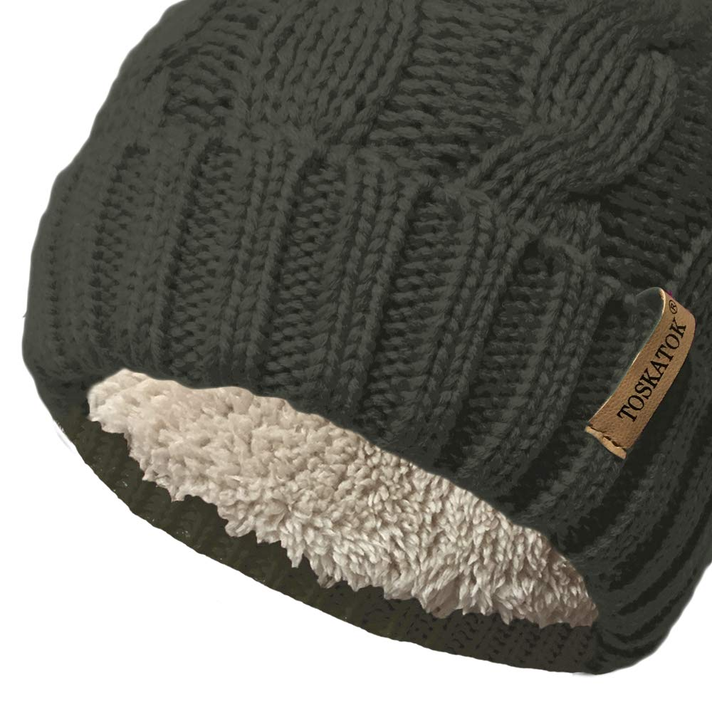 10bd134a18d ... Knit Hat with Cosy Fleece Liner and Detachable Faux Fur Pompom larger  image