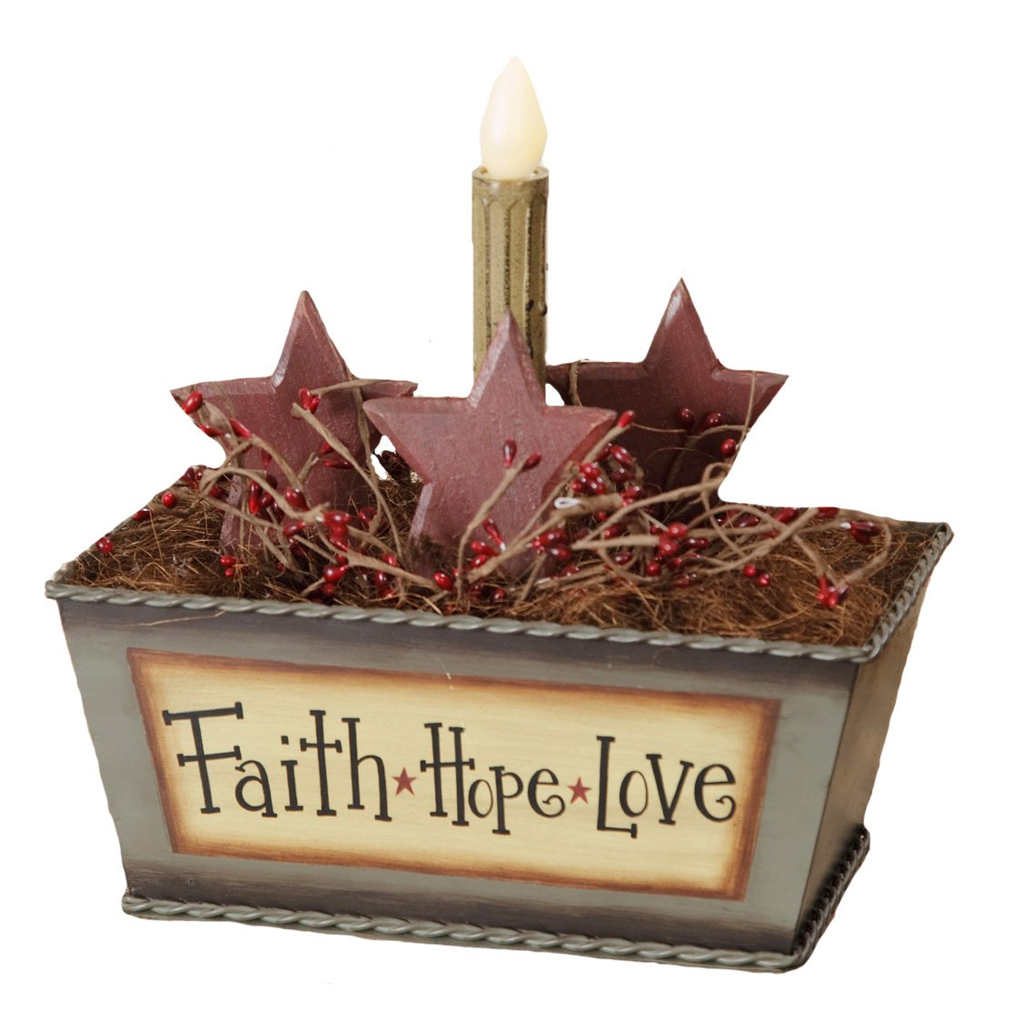Your Hearts Delight Faith Hope Love Tin Box Decor with LED Candle Light, 9-1/4 by 9-1/2 by 5-1/2-Inch