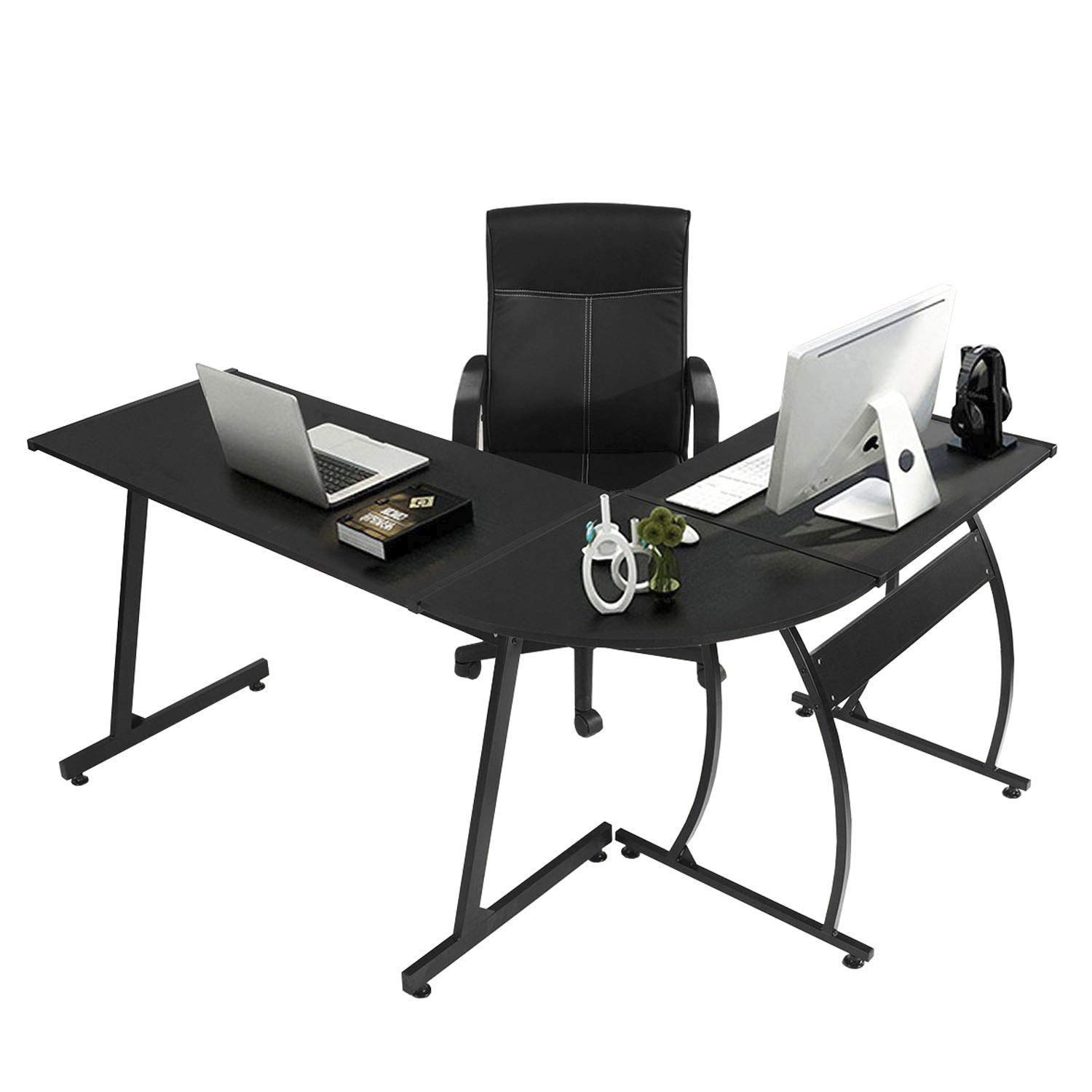 GreenForest L-Shape Corner Computer Office Desk PC Laptop Table Workstation Home Office 3-Piece,Black by GreenForest