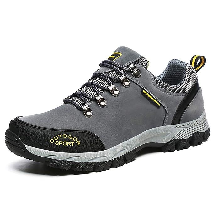 FHTD Scarpe da passeggio da uomo Scarpe da ginnastica antiscivolo Stivali da  trekking Pelle scamosciata scamosciata Impermeabile Leggero e traspirante   ... d0cc53301c2