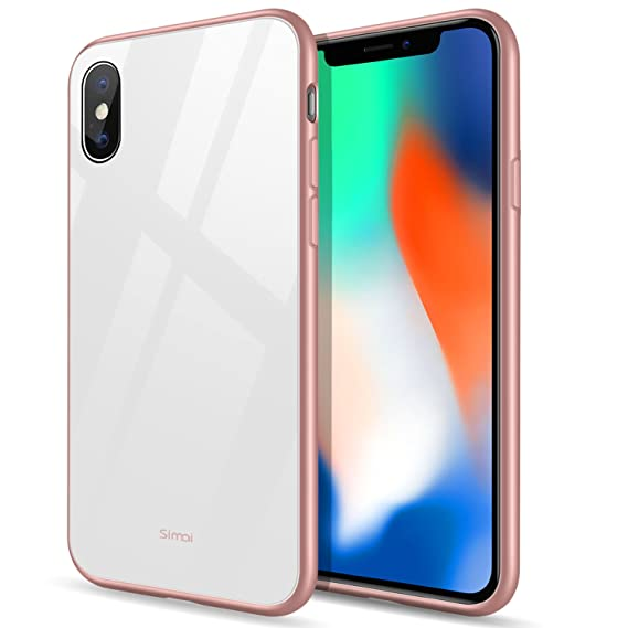 finest selection c1ac9 17c8b Amazon.com: Simai iPhone X Case with Tempered Glass Back Panel Apple ...