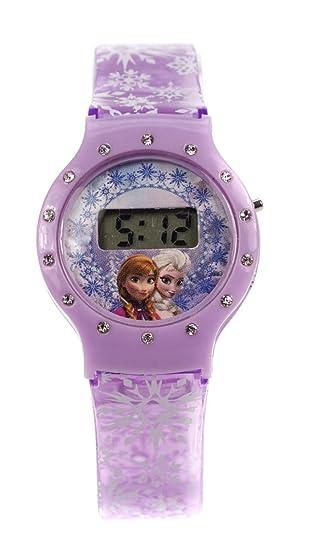 Disney Frozen Elsa & Anna Niños LCD Morado Digital Niñas Reloj de Muñeca Ajustable
