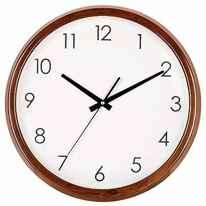 Khskx Caja De Madera Reloj De Pared Cuarzo Redondo Silencio Dibujo