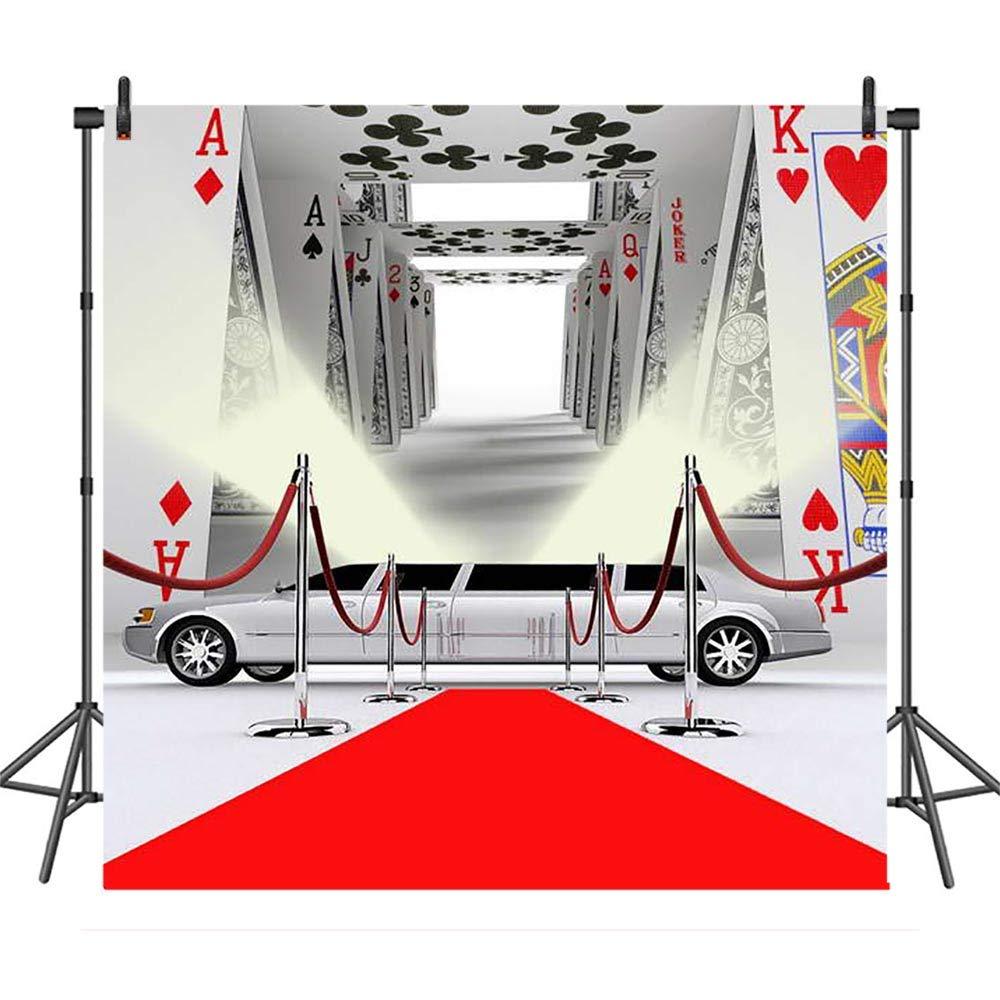 COMOPHOTO カジノ ポーカー レッド カーペット 車 ロイヤル 写真背景 8x8フィート ビニールクロス 誕生日パーティー バナー 背景幕 写真ブーススタジオ用   B07MZ38RDL