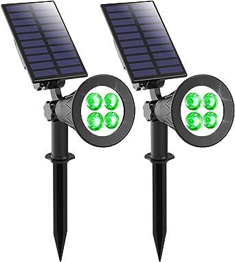 Verde Luces solares para jardín, T-SUNRISE 4 LED Proyector solar para exteriores, 2 modos luminosos Luces de seguridad, luz impermeable IP65 para patio con césped en el jardín (2 piezas): Amazon.es: Iluminación