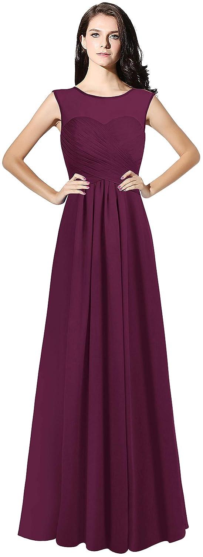 Grape Purple CladiyaDress Women Illussion Neck Long Bridesmaid Dress Evening Gowns C068LF