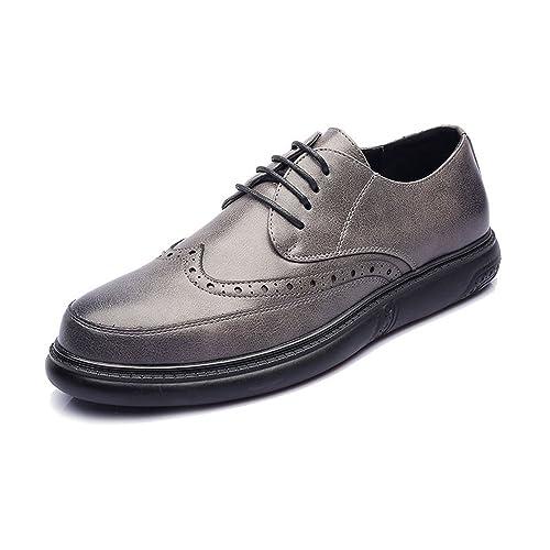 Zapatos de Cuero PU de los Hombres con Cordones Mocasines con Cordones Suela de Diseño Clásico Tallado!: Amazon.es: Zapatos y complementos