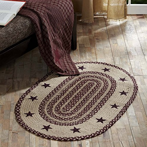 Classic Country Primitive Flooring - Burgundy Tan Jute Red Stenciled Stars Oval Rug, 1'8