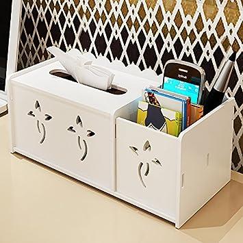 CLG-FLY tejido multifuncional para el hogar cajas caja de almacenamiento mesa de café control remoto cuadro Libro simple servilleta modernas ideas,blanco: ...
