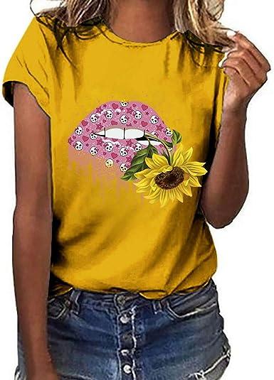 Camisetas Mujer Verano Camisetas Mujer Originales Casual Camisetas Basicas Mujer Camiseta de Manga Corta para Mujer con Estampado de Labios sensuales Camiseta con Estampado de Girasol: Amazon.es: Ropa y accesorios
