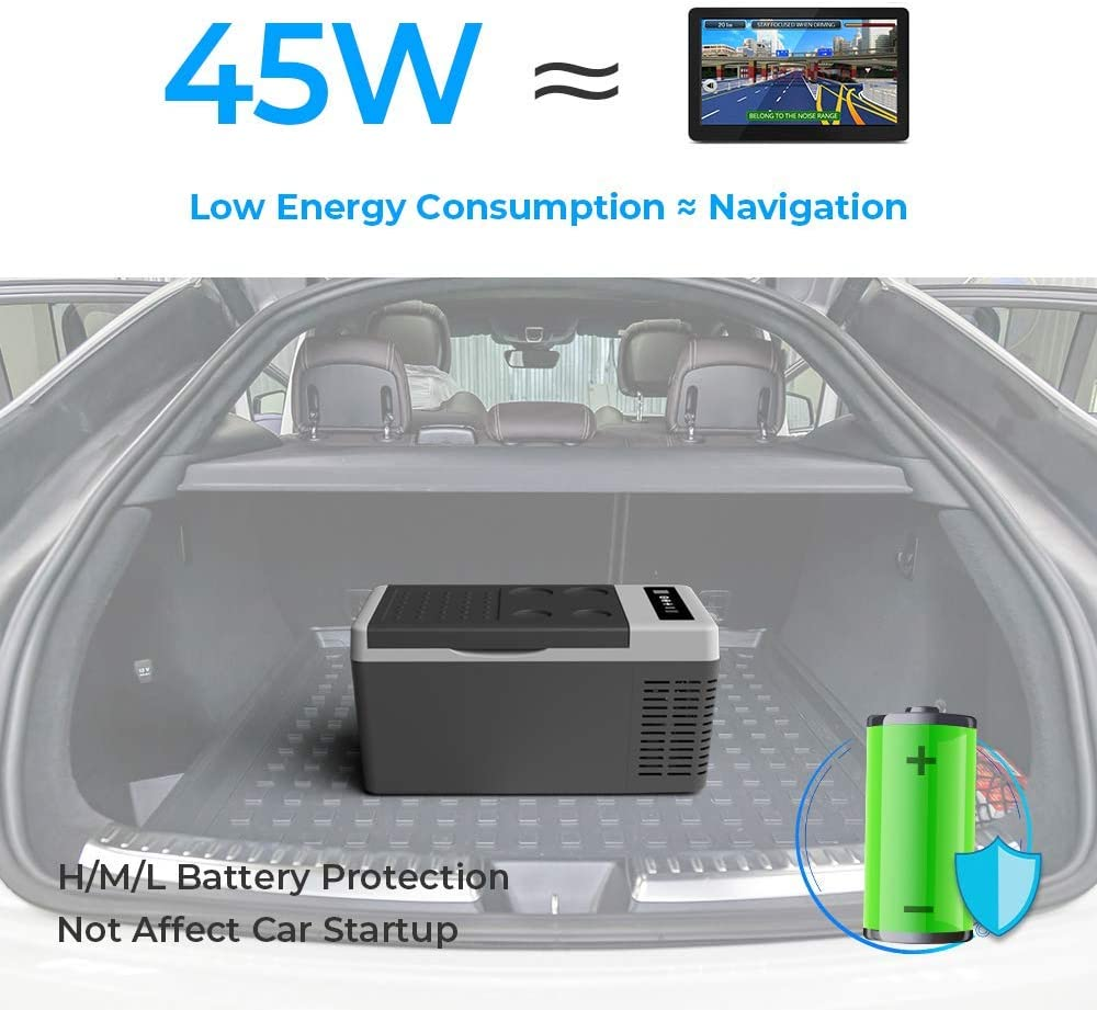 RV Camping and Travel Boat with 12//24V DC and 110-240 AC Electric Car Cooler for Home,Truck -7.6℉~50℉ F40C4TMP Portable Refrigerator 20 Quart with Insulated Transit Bag Car Fridge Freezer 18L
