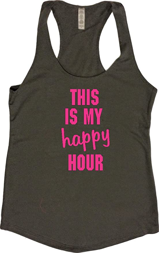 d38aefa868 Amazon.com: Womens Workout Tank - This is My Happy Hour - Zumba Tops with  Funny Sayings: Clothing