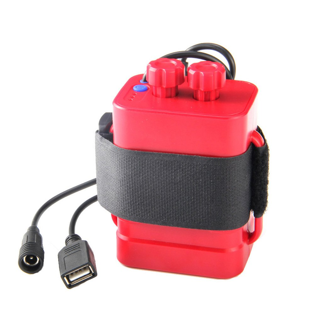 Battery Storage Case,NNDA CO Waterproof DC 8.4V USB 6x 18650 Battery Storage Case Box Holder For Bike LED Light Cell Phone,Plastic+metal (red)