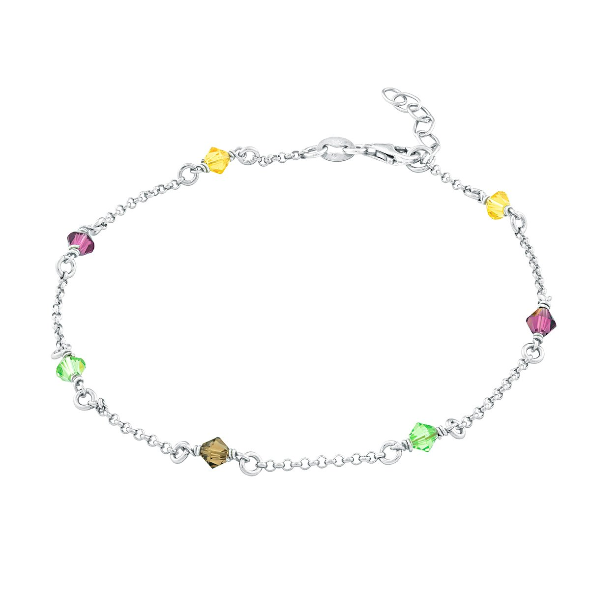 Sterling Silver 9'' + 1'' Extension Multi-Colored Crystals Anklet