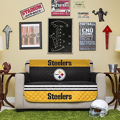 NFL Pittsburgh Steelers Love Seat Reversible Furniture Protector with Elastic Straps, 75-inches by 88-inches