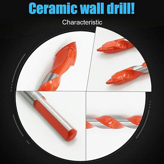 Starall Forets Pour Carrelage Verre,5-7Pcs Foret Multi-mat/ériaux Triangle Porcelaine Forage M/étalliques Pour Carrelage Verre Marbre Miroir Bois 3mm//4mm//5mm//6mm// 8mm// 10mm// 12mm 5PCS//6-12mm, Red