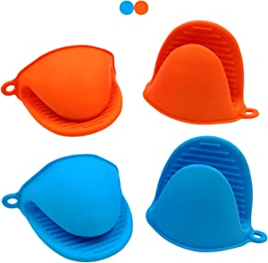 Mini Oven Mitts Finger Mitts Silicone Mini Glove 2 Pairs(4pcs) Finger Protector Oven Mitts Heat Resistant Cooking Pinch Mitts Potholder for Kitchen Cooking & Baking (Blue & Red)