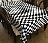 lovemyfabric Cotton Blend 2 Inch Black & White Checkerboard Print Tablecloth for Wedding/Bridal Shower, Birthdays, NASCAR Party Special Events (58''X96'')