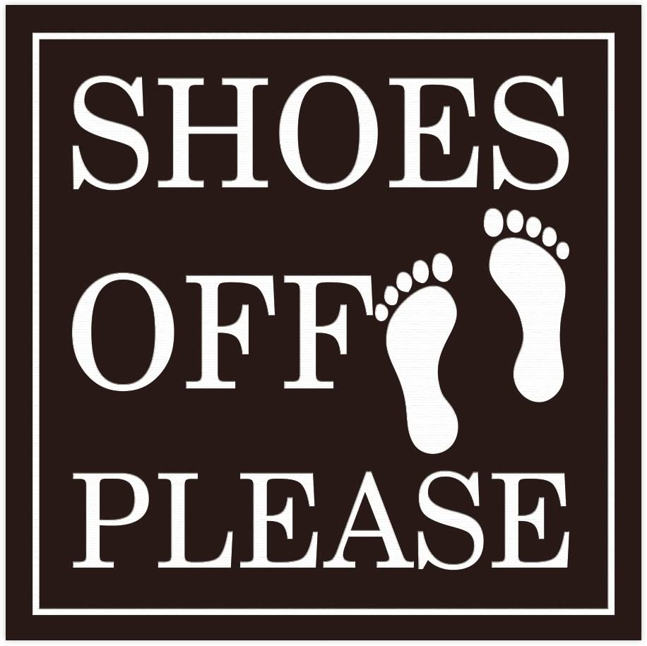 All Quality Shoes Off Please Square Wall Door Sign - Dark Brown (Large)