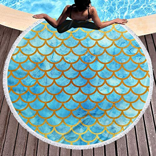 KaoRao Blue Watercolor Fish Scales Round Beach Towel Microfiber Beach Blanket Large Roundie Soft Lightweight Tapestry Wall Hanging for Women Men(59x59 Inch) (Fish Scale Beach Towel)