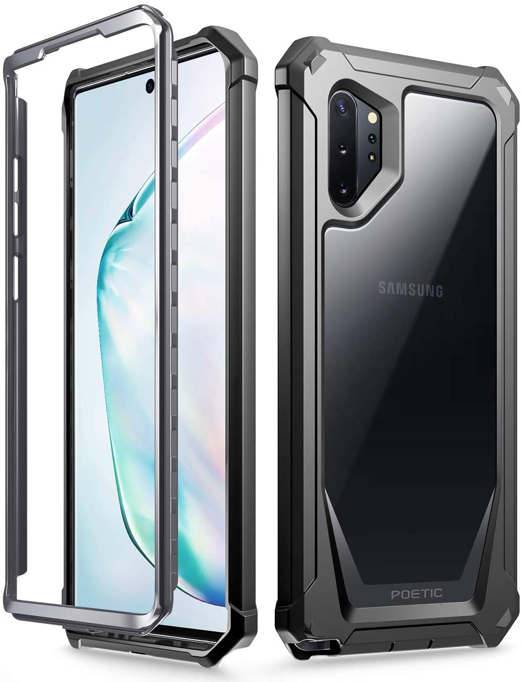 Galaxy Note 10 Plus Rugged Clear Case, Poetic Full-Body Bumper Cover, Support Wireless Charging, Without Built-in-Screen Protector, Guardian, Case for Samsung Galaxy Note 10+ Plus 5G, Black