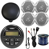 PRV19 Gauge Style AM/FM/ Bluetooth Stereo w/Rear USB Input JBL MS6510 6.5 Dual Cone Marine Speakers White, Antenna, 50FT Speaker Wire, Enrock Universal USB 3.5MM Auxiliary Interface, Stereo Cover (4)