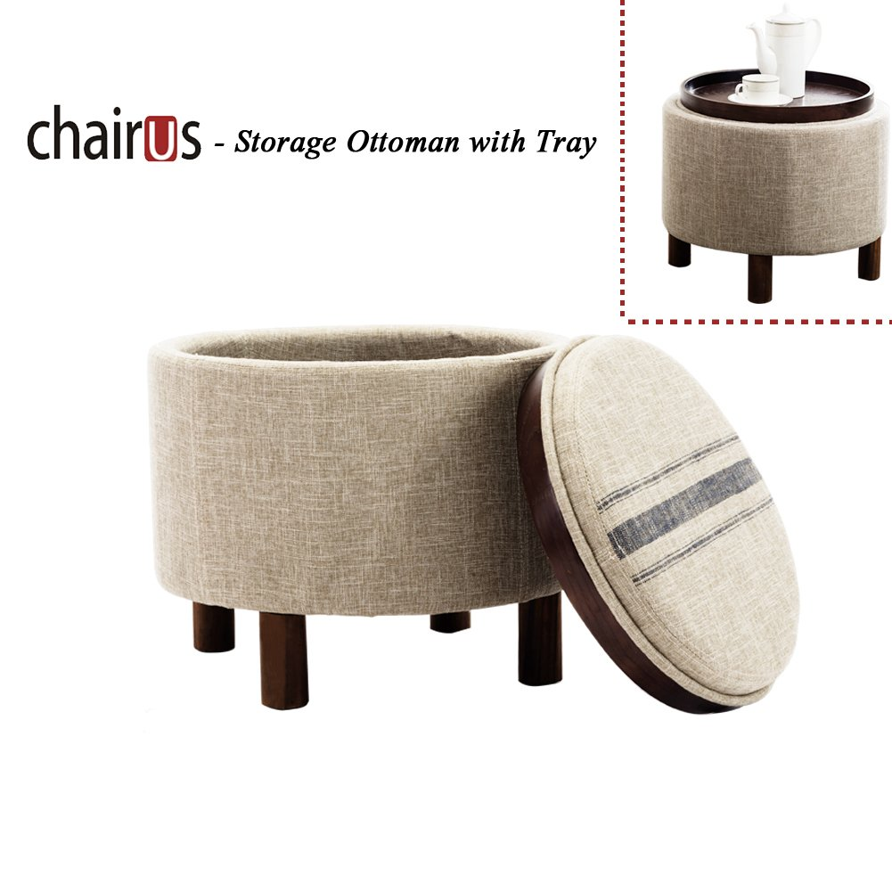Chairus Round Storage Ottoman with Tray, Fabric Upholstered Small Footrest Beige Collapsible Shoe Storage Ottoman with Blue Striped Lid & Wood Legs for Living Room/Bedroom/Hallway/Utility Room
