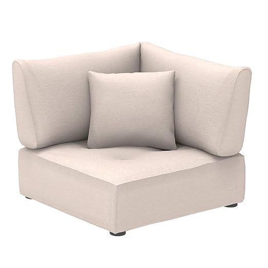 Marca Amazon - Alkove Elvas - Módulo de esquina con almacenaje y cojín adicional para sofá modular, 100 x 100 cm, beige
