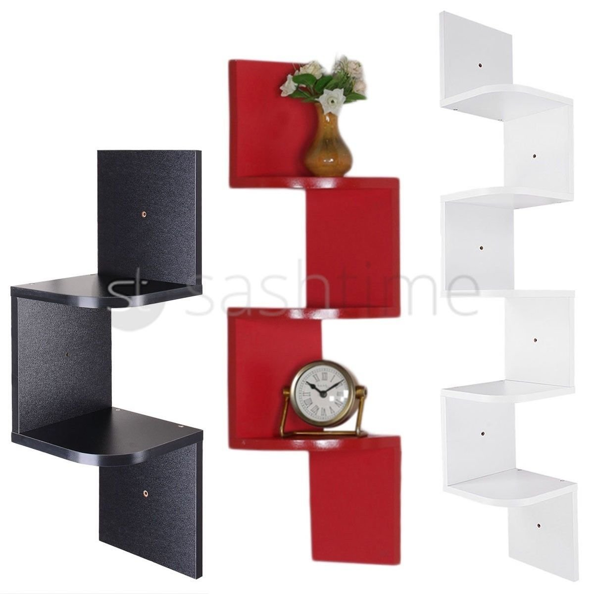FiNeWaY Durable MDF Zigzag Corner Wall Wooden Floating Display Shelf Shelves Storage Rack (RED, 2 TIER)
