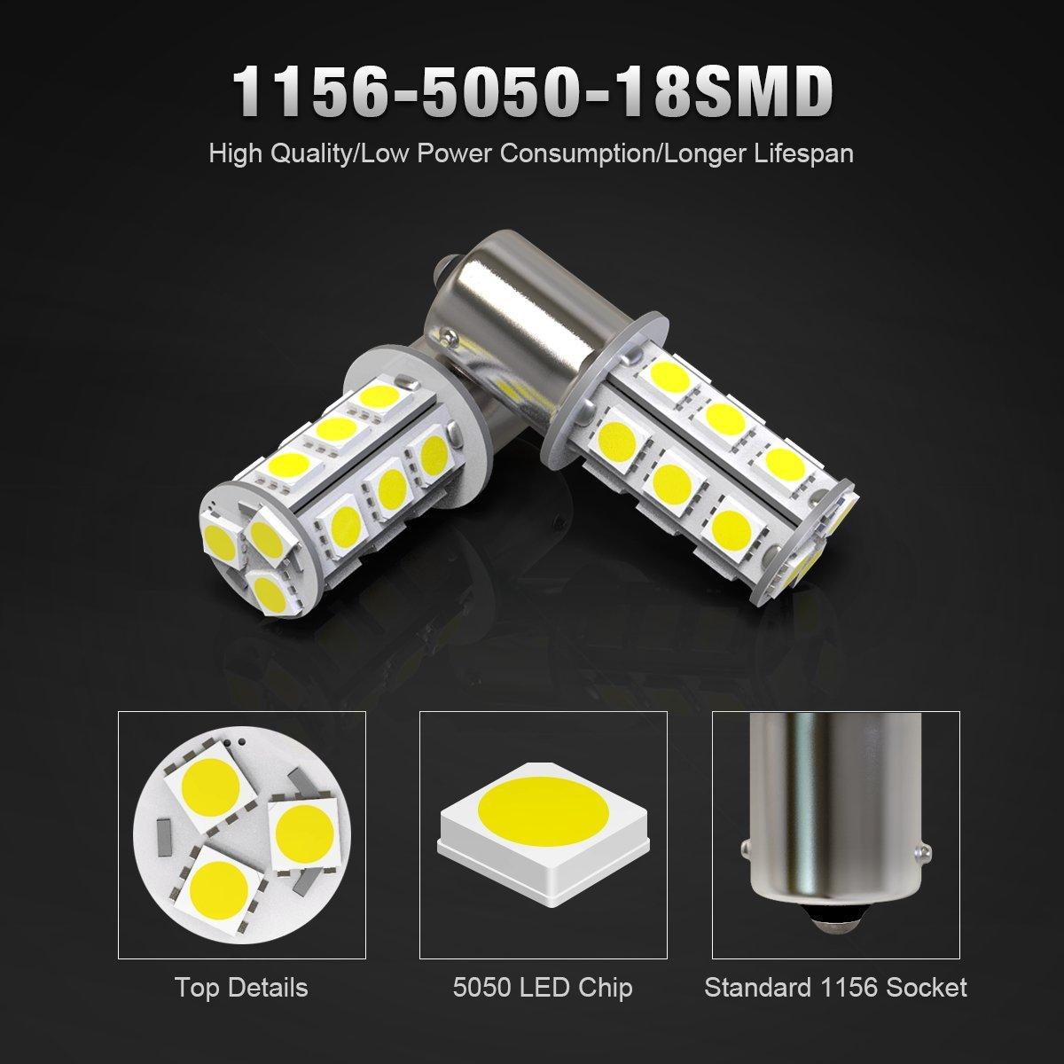 KAFEEK 20/× Super Bright 1156 1141 1003 7506 BA15S LED Bulbs 18-5050 Chipset 12 Volt RV Camper Interior Lights White
